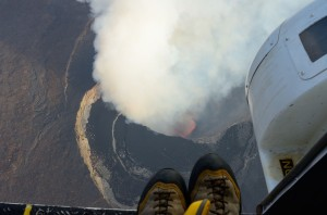 Recent lava fountains in the pit crater of Nyamulagira volcano - Photo (c) B. Smets, July 2014