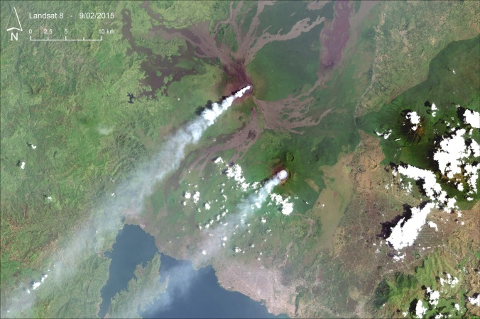 Landsat 8 image acquired on 9th February 2015, over Nyiragongo and Nyamulagira volcanoes.  Source: USGS EROS Data Center