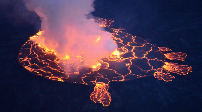 Nyiragongo lava lake during a minor overflow, in September 2011. (Photo: B. Smets, 2011)