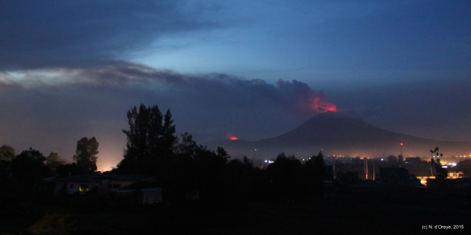 Virunga volcanoes by night