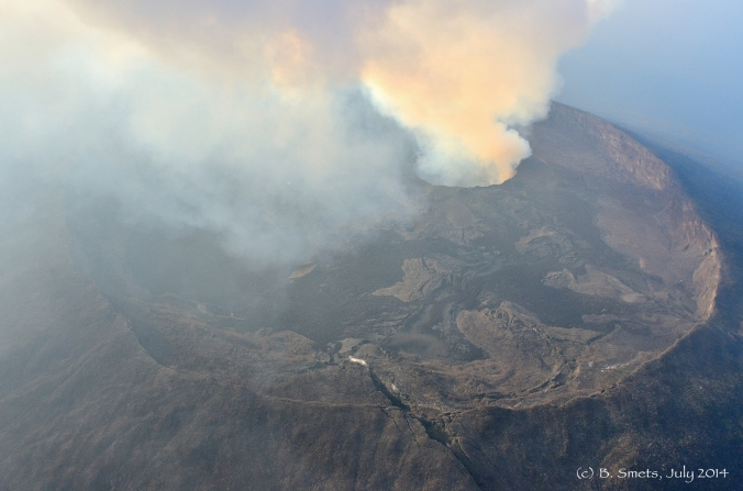 Nyamulagira's summit caldera and its permant gas plume escaping from the pit crater. Photo: (c) B. Smets, July 2014.
